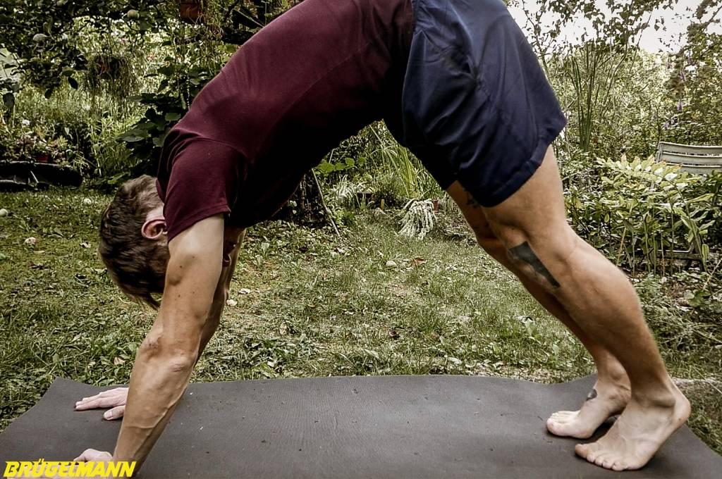 Dehnen des Rückens und der Beinrückseite in der Yoga Position Herabschauenden Hund