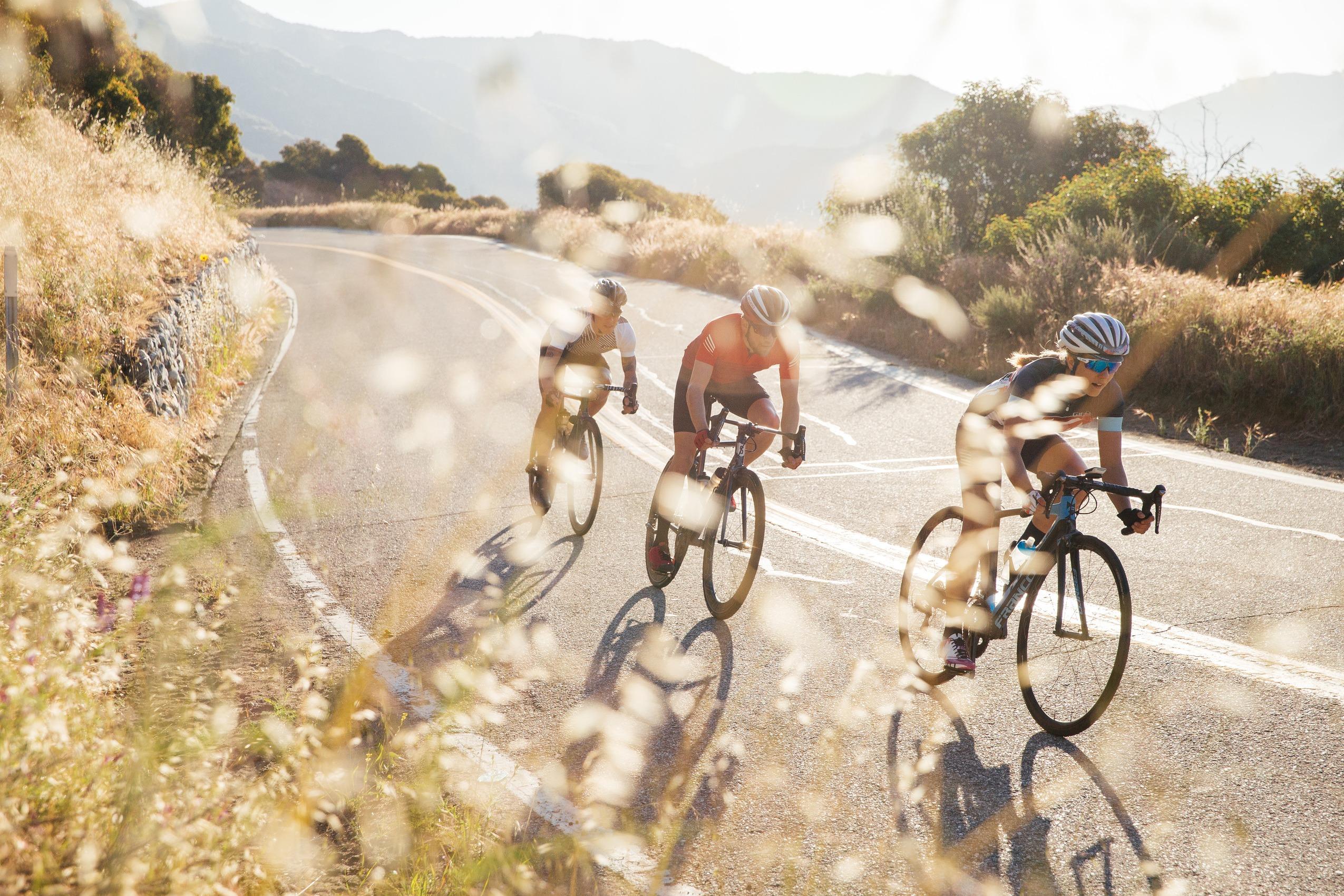 Gruppe Rennradfahrer*innen auf Tour im Sommer