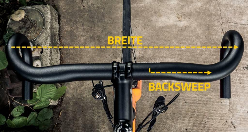 Rennradlenker Grafik erklärt Breite Backsweep