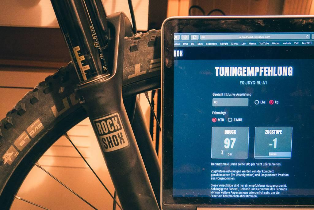 RockShox Trailhead App in Aktion