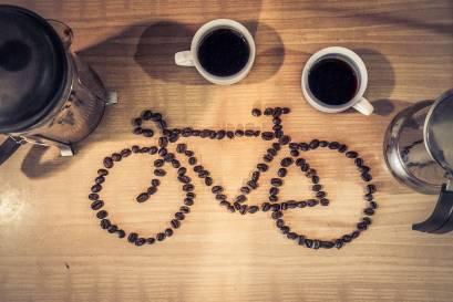 Kaffeebohnen Fahrrad