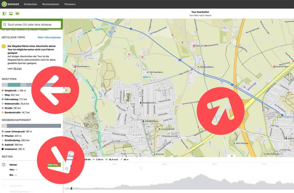 Routenplanung mit komoot Abschnitte