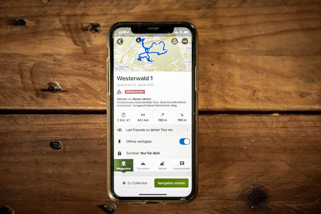 Routenplanung mit komoot auf dem Smartphone